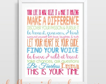 Inspirational Quote | Personalized Graduation Gift | Dorm Decor | Cubicle Decor | You choose the colors