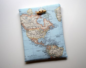 Ipad / Tablet Sleeve Blue World Map Handmade Babimini Bag Case