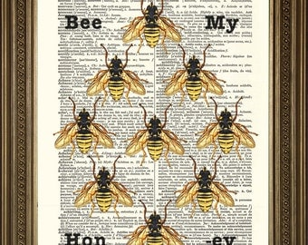 "HONEY BEES PRINT: 'Bee My Honey' Apiary Vintage Dictionary Art Wall Hanging Gift (8 x 10"")"