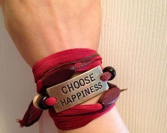 Choose Happiness Fabric Tie Bracelet