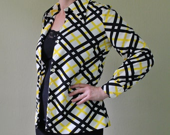 Vintage 1970s Blouse - Button Up Blouse - Abstract Shirt - Plaid Shirt - Black White Gold  - Big Collar - Office attire -  Act III