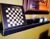 Set of three wall shelves, painted and distressed.  Picture Frame shelf, Ledge shelf, art shelf. Set of shelves