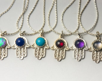 Birthstone Hamsa Necklace, Personalized Sterling Silver Hamsa Necklace with 5mm Gemstone of your choice, Birthstone Necklace, Hamsa Necklace