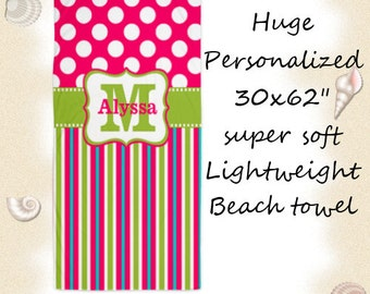Pink Lime Green Stripe Polka Dots Personalized Monogram Beach Towel