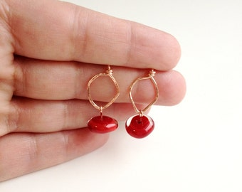 Copper Post Earrings, Wire Earrings, Glass Bead Earring, Lampwork Bead Dangle, Red and Copper Jewelry, Hammered Wire, Hand Forged Jewelry,