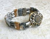Picasso Jasper And Hematite Bracelet With Artisan White Bronze Sunflower Clasp