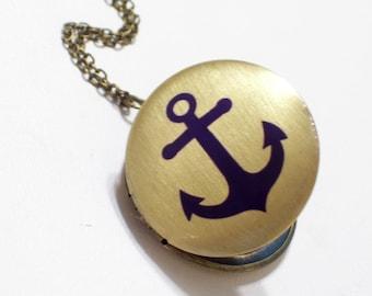 Nautical Anchor Sailor Brass Art Handmade Locket Necklace Navy Blue Anchor