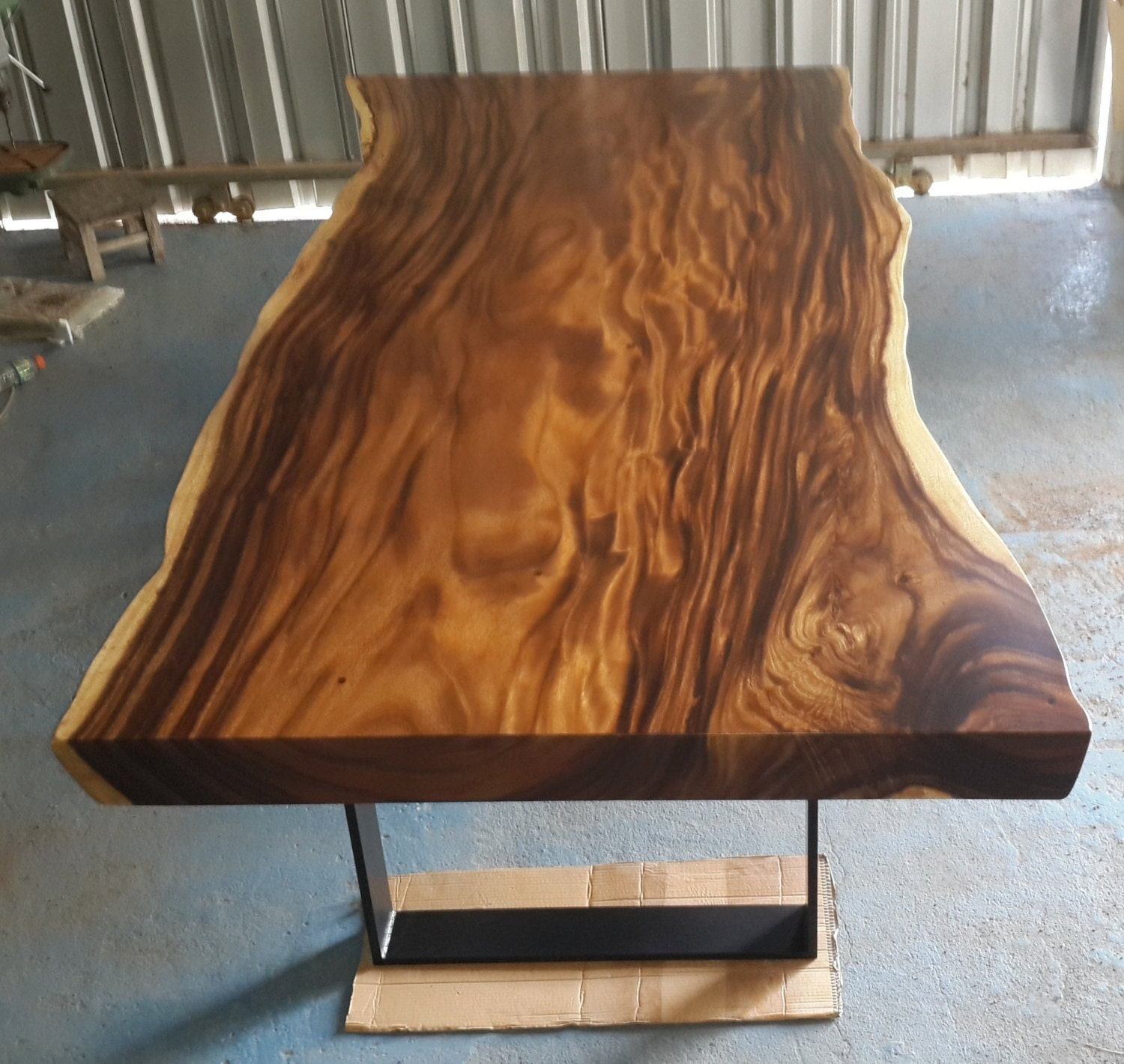 Live edge dining table acacia wood live edge reclaimed solid for How to finish a wood slab