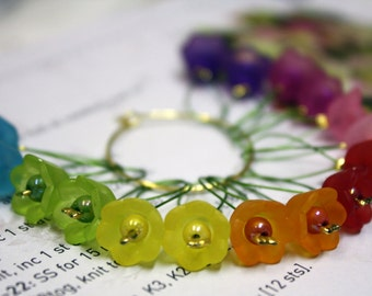 16 Knitting stitch markers summer flowers