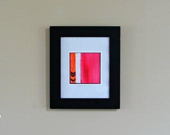 Home Decor Art Print, Chevron Design--Wall & Nursery Art for Mothers Day in Fusia, White, Orange and Black