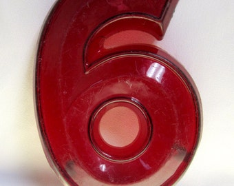 Vintage Translucent Red Plastic Marquee Number 6 Wall Hanging 12 inch tall by 8 inch wide