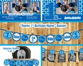 Boy 1st birthday party package, everything one baby blue birthday banner high chair  photo( Invitation, thank you, 3 banners PDF Printable)