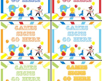 Circus Yard Signs Carnival Birthday Party Large Signs Games Printable DIY PDF (112 Signs included, plus EDITABLE blank signs Mic Word)