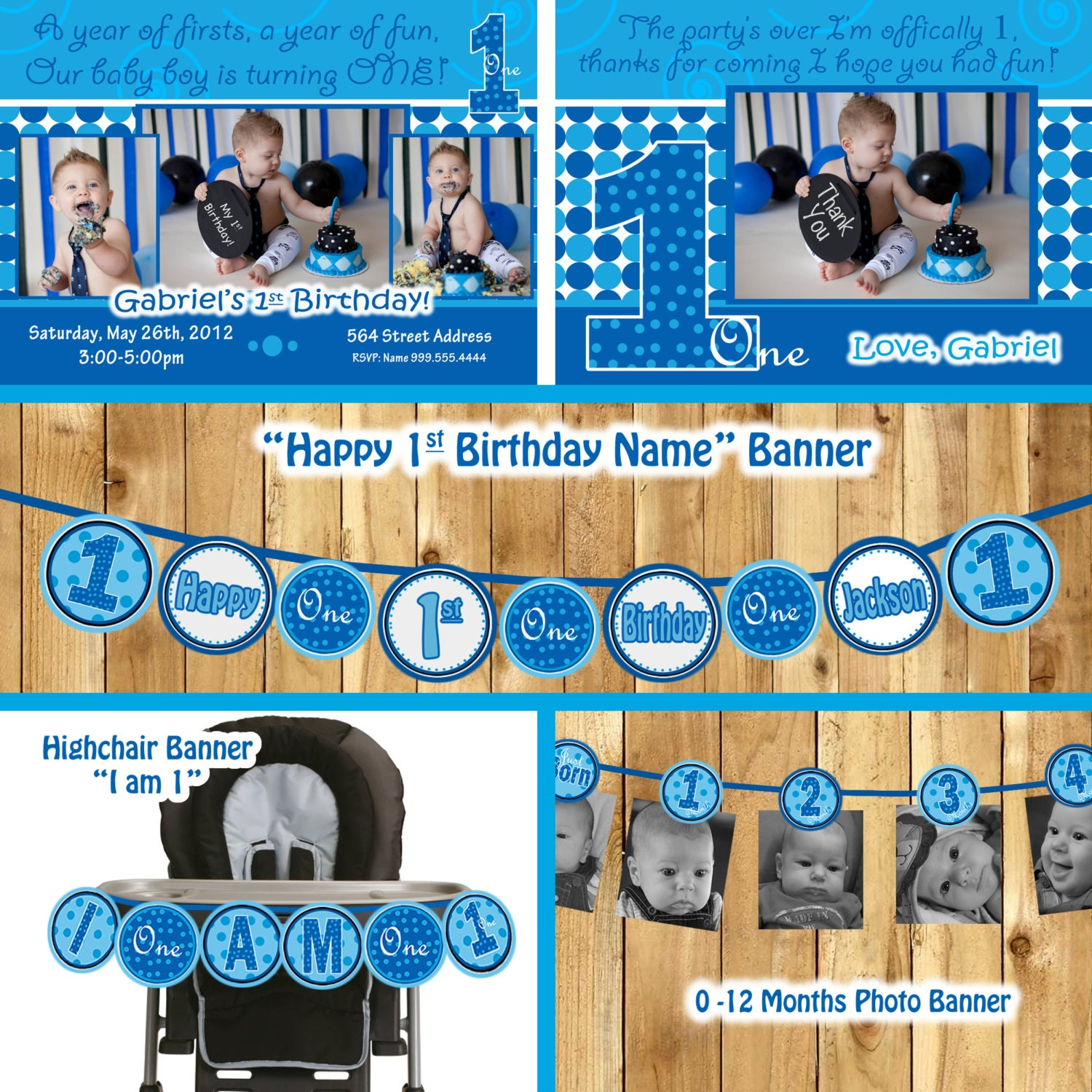 Boy 1st Birthday Party Package Everything One Baby Blue