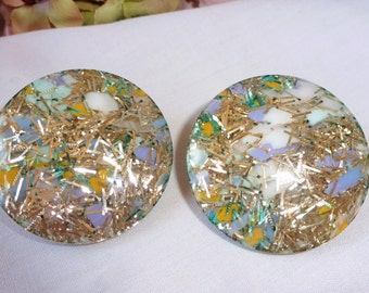 Exceptional Earrings Vintage Confetti Lucite Earrings Multi Colors