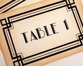 Art Deco Table Numbers, Great Gatsby Wedding Table Numbers, Old Hollywood Glamour Table Signs, 1920s Table Number Signs, Matching Items