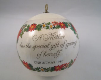 Christmas Collectible 1980 Satin Ornament Mother Hallmark Cards