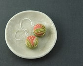 Kimono Earrings, Yellow-Green, Coral, Sterling Silver