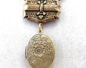 "Luck-O-the-Irish 3 Leaf Clover ""Good Luck"" Locket Necklace, Vintage Gold, 20"""