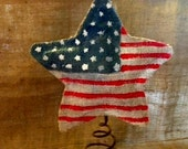 Burlap star Americana shelf sitter