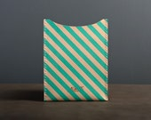 Leather iPad Mini Sleeve - Teal Stripe