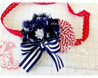 Stars and Stripes ~ July 4th Headband. Baby Headband, Infant Headband, Navy Red White Headband. Chiffon Headband. Photography Prop.