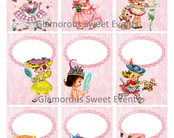 INSTANT DOWNLOAD, Vintage  Girl Gift Tags,  ACEO,  Digital Collage Sheet , Printable, Birthday Tags