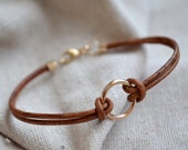 Gold Circle Bracelet - Leather - Eternal