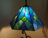 Blue and Green Six Panel Stained Glass Lamp Shade - ehamiltonglass