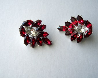 Signed YSL  Yves Saint Laurent Ruby Red  Earrings, YSL statment earrings, YSL Fashion Earrings