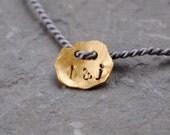 Solid gold initial bracelet, 24k gold personalised bracelet, fine gold hand stamped charm bracelet