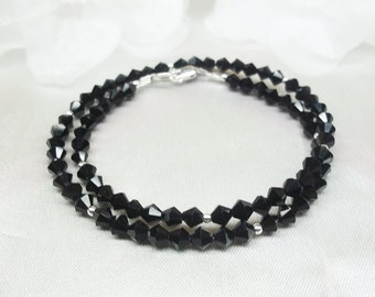 Black Bracelet Black Crystal Bracelet Double Wrap Bracelet Sterling Silver Bracelet 925 Sterling Silver Gift For Her BuyAny3+Get1 Free