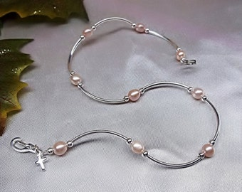 Pink Pearl Anklet Cross Anklet Pink Pearl Ankle Bracelet 925 Sterling Silver Anklet Silver Ankle Jewelry Body Jewelry BuyAny3+Get1 Free