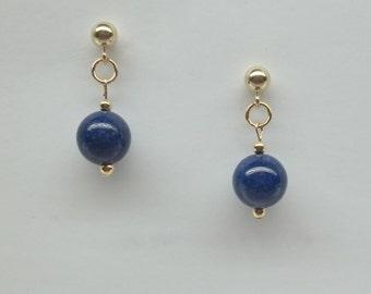 Blue Lapis Earrings Solid 14kt Gold Earrings Blue Lapis Lazuli Earrings Dangle Earrings 14kt White Gold Earrings BuyAny3+Get1 Free