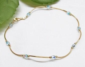 14k Gold Aquamarine Ankle Bracelet Anklet Blue Anklet Crystal Anklet Blue Ankle Bracelet Gold Filled Anklet BuyAny3+Get1 Free