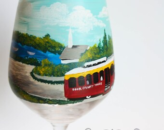 Door County Theme 'Captured Moments - Hand Painted Wine Glass