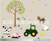 Farm animals wall decal tree kids tractor sticker