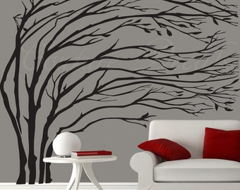Wall decal tree blowing branches decals vinyl walls stickers