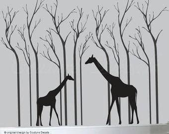Birch tree wall decals, decal tree wall, birch trees, giraffe decals, wall decal giraffe