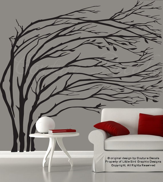 Modern black blowing tree wall decal silhouette tree wall decal tree wall sticker - 0204