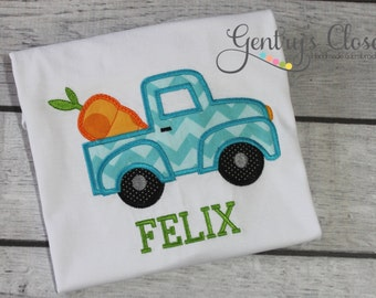 Easter truck shirt for little boy. Infant bodysuit with truck and carrot personalized with name. Cute Easter clothes. Easter tshirt for boy.
