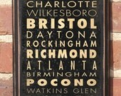 Antique Finish NASCAR Track List - v1 - Vintage Style Wall Plaque / Sign Race Speedway