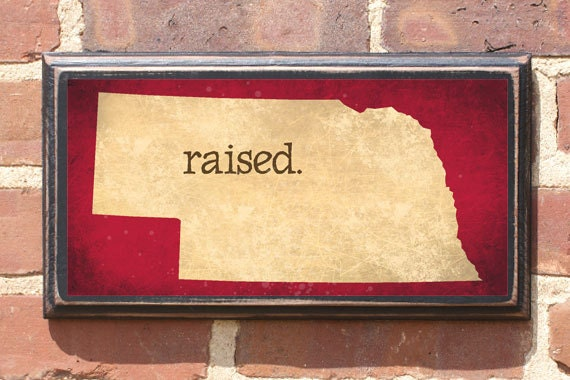 Nebraska nb raised wall art sign plaque gift present home Home decor lincoln ne