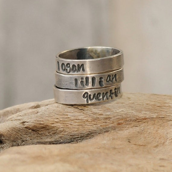 Personalized Rings - Personalized Rings Stacking Set of Three - Personalized Jewelry