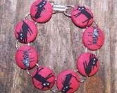 Black Cats on a Dark Red Button Bracelet