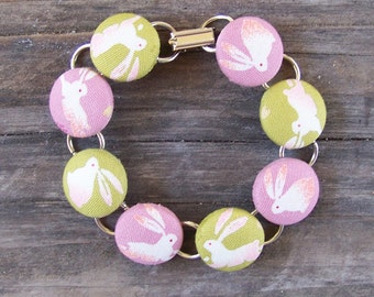 Pink and Green Bunny Button Bracelet