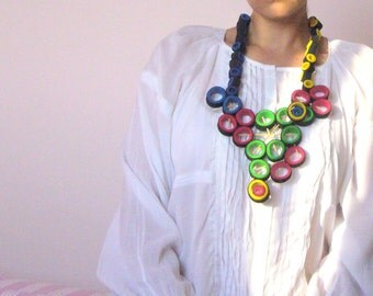 Rubber statement/Rubber collar bold/Multi loop necklace avant garde /green yellow red blue