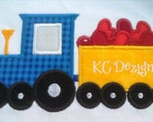 Train and Cart With Hearts Machine Applique Embroidery Design - 5x7 & 6x8