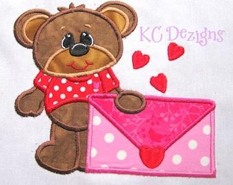 Bearly Love Envelope Machine Embroidery Applique Design - 4x4, 5x7 & 6x8