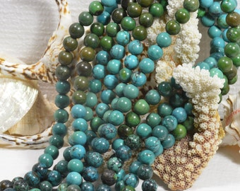 """Turquoise 9mm 8"""" Strand Natural Gemstone Beads Jewelry Making Supplies Turquoise Beads"""